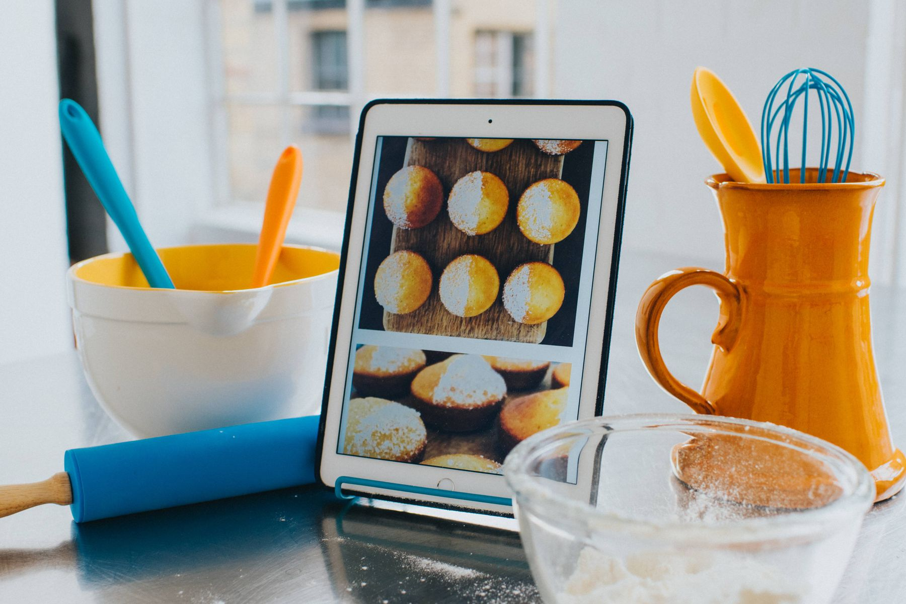 How to clean an iPad screen: iPad being used for baking recipe