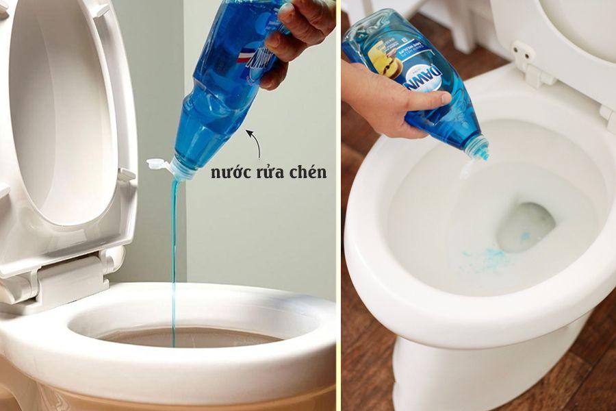 Cách thông nghẹt bồn cầu đơn giản bằng nước nóng kết hợp nước rửa chén