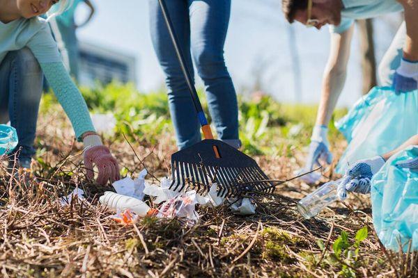 Grupo de personas recolectando basura en un parque
