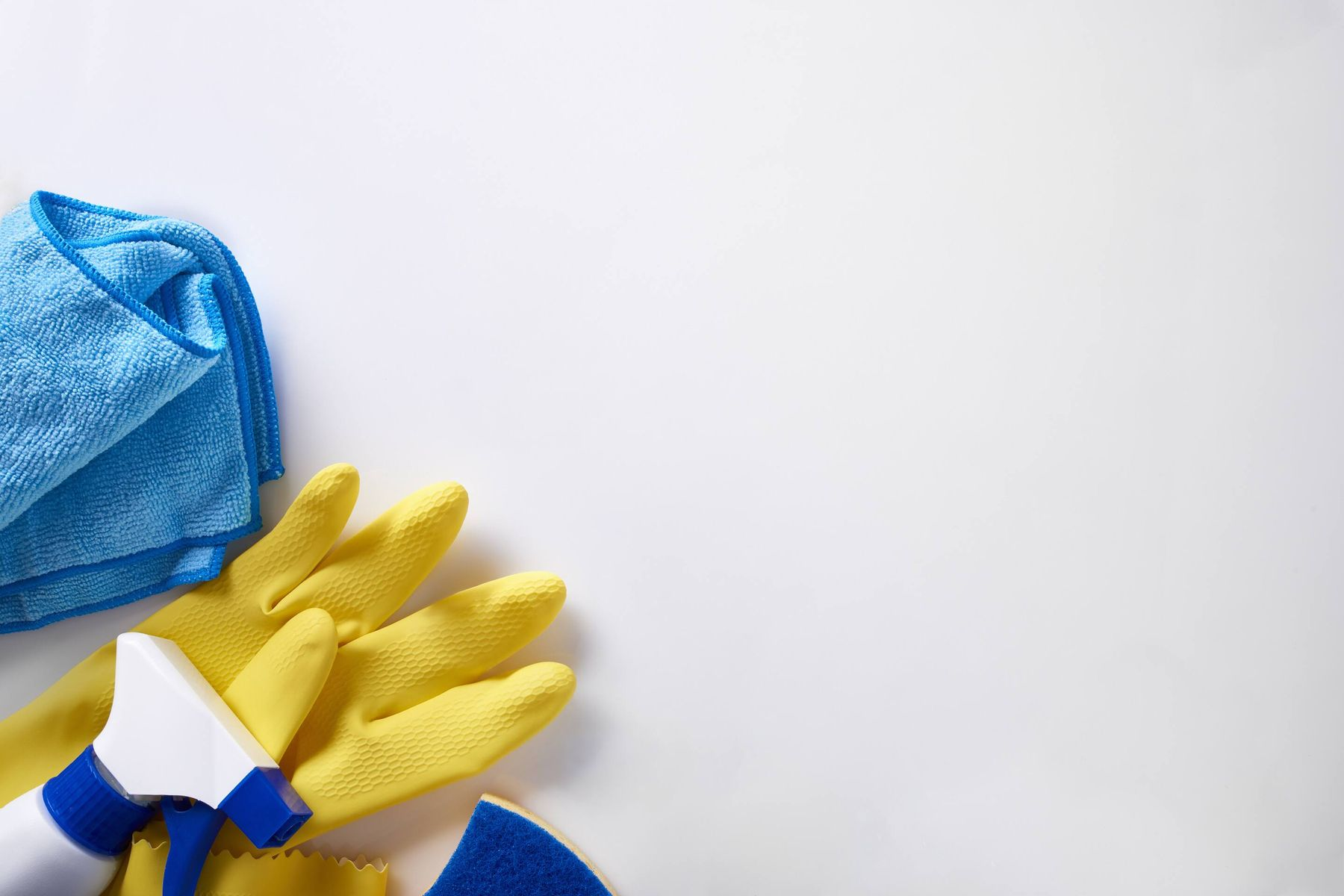 Gloves and cleaning products used to clean interior
