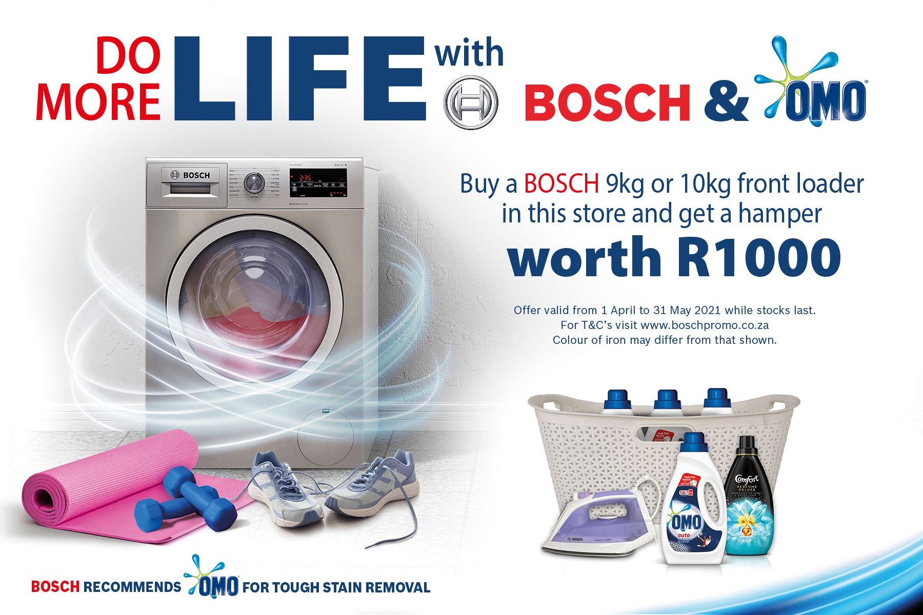 OMO and Bosch competition, products and logos surrounded by laundry items and gym equipment