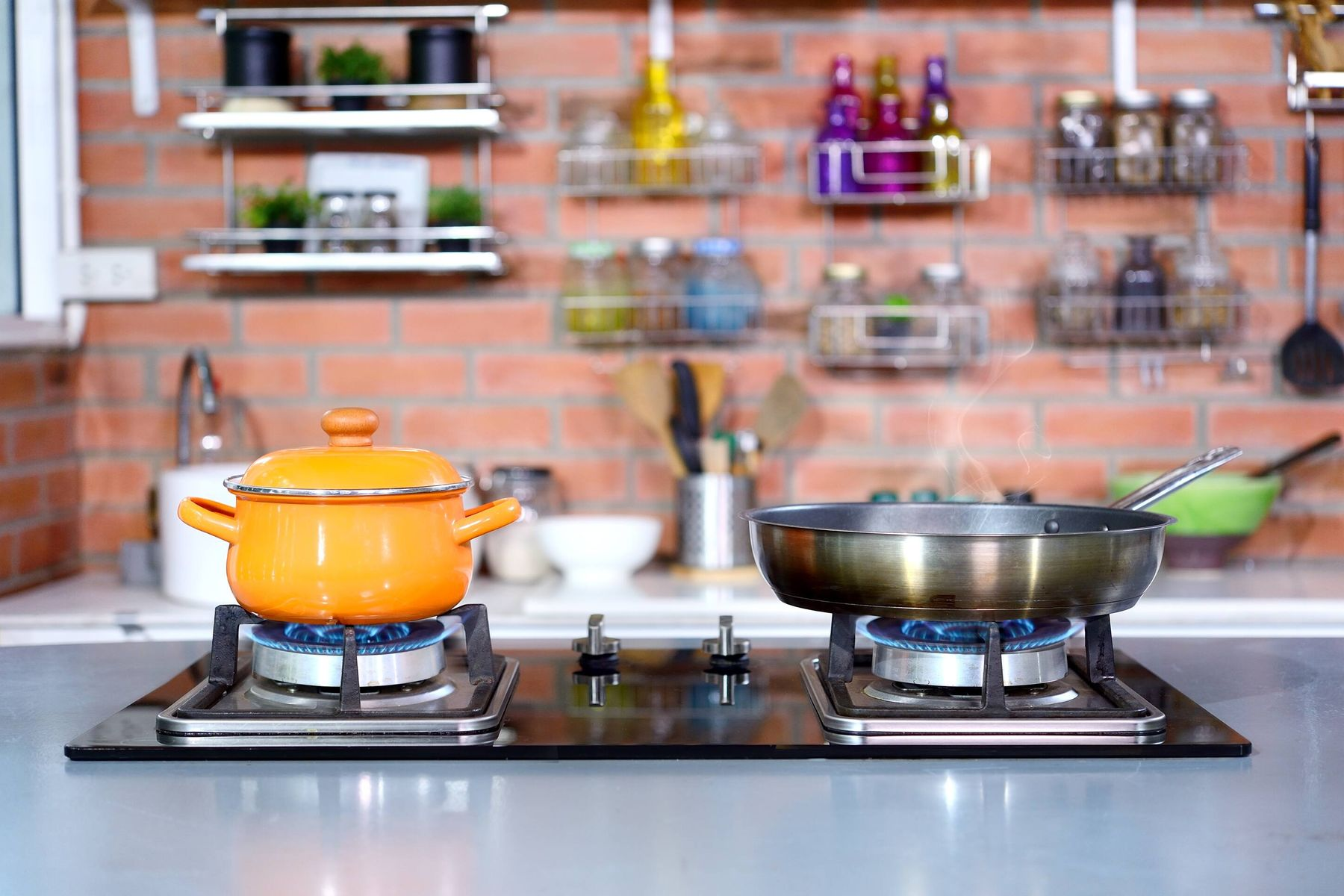 gas stove with burnt pans