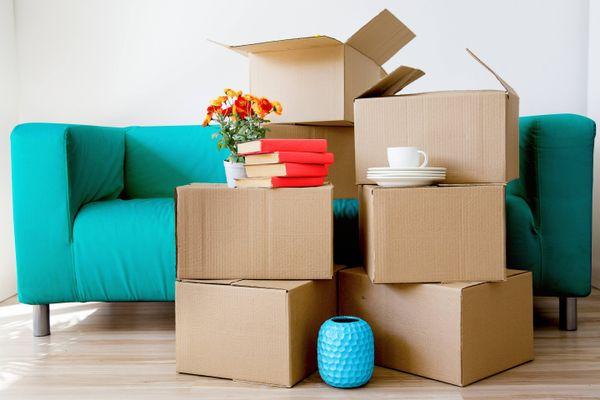 kartonowe pudełka przed niebieską kanapą