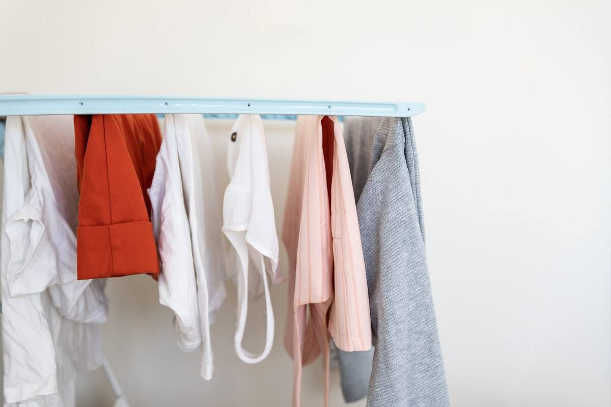 Laundry drying on a clothes horse