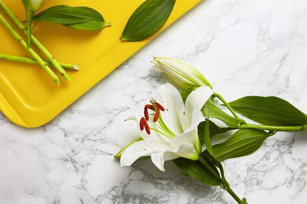 how to make flowers last longer: cut white lillies on marble worktop with yellow chopping board
