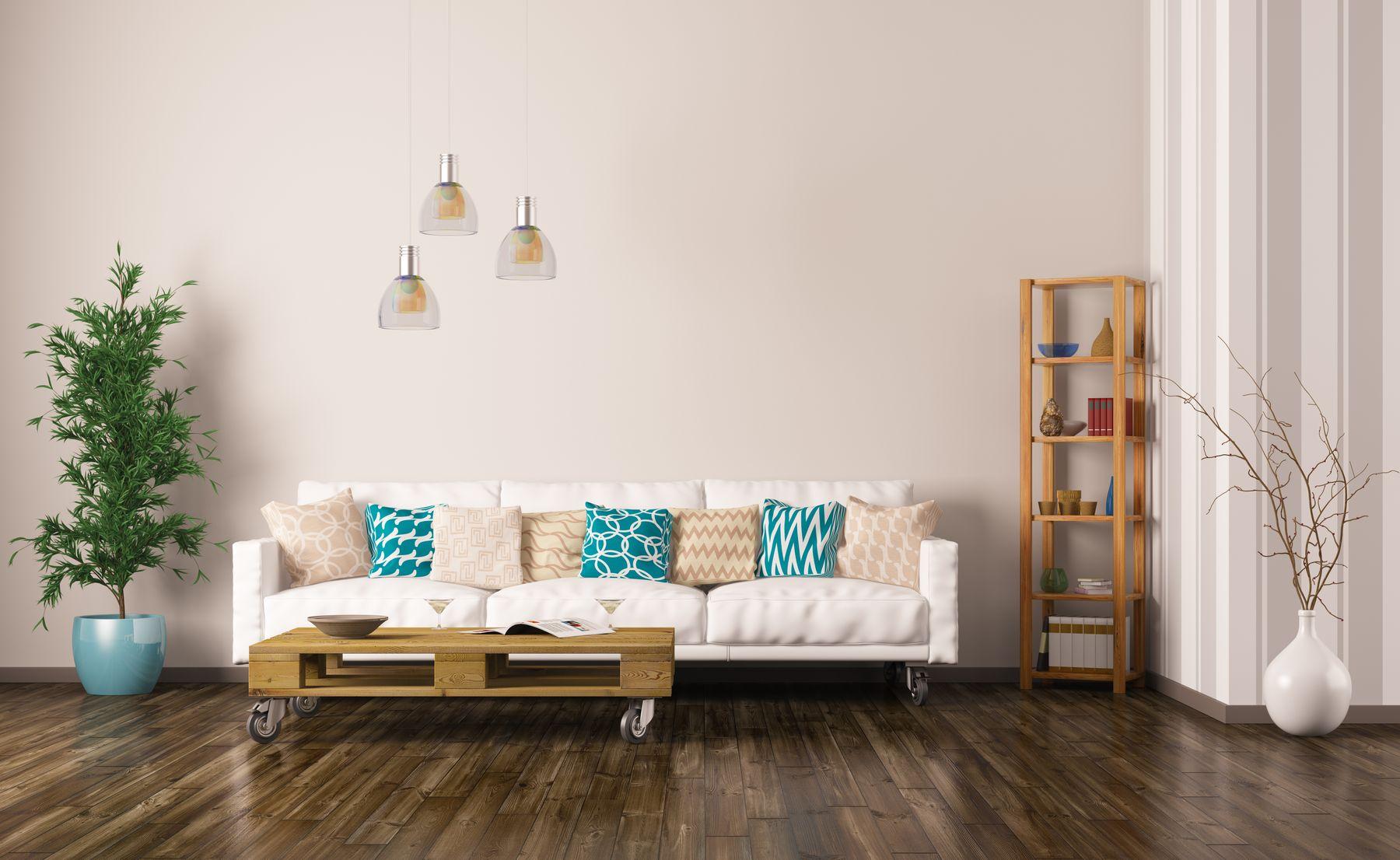 Sala de estar com mesa de centro de palete