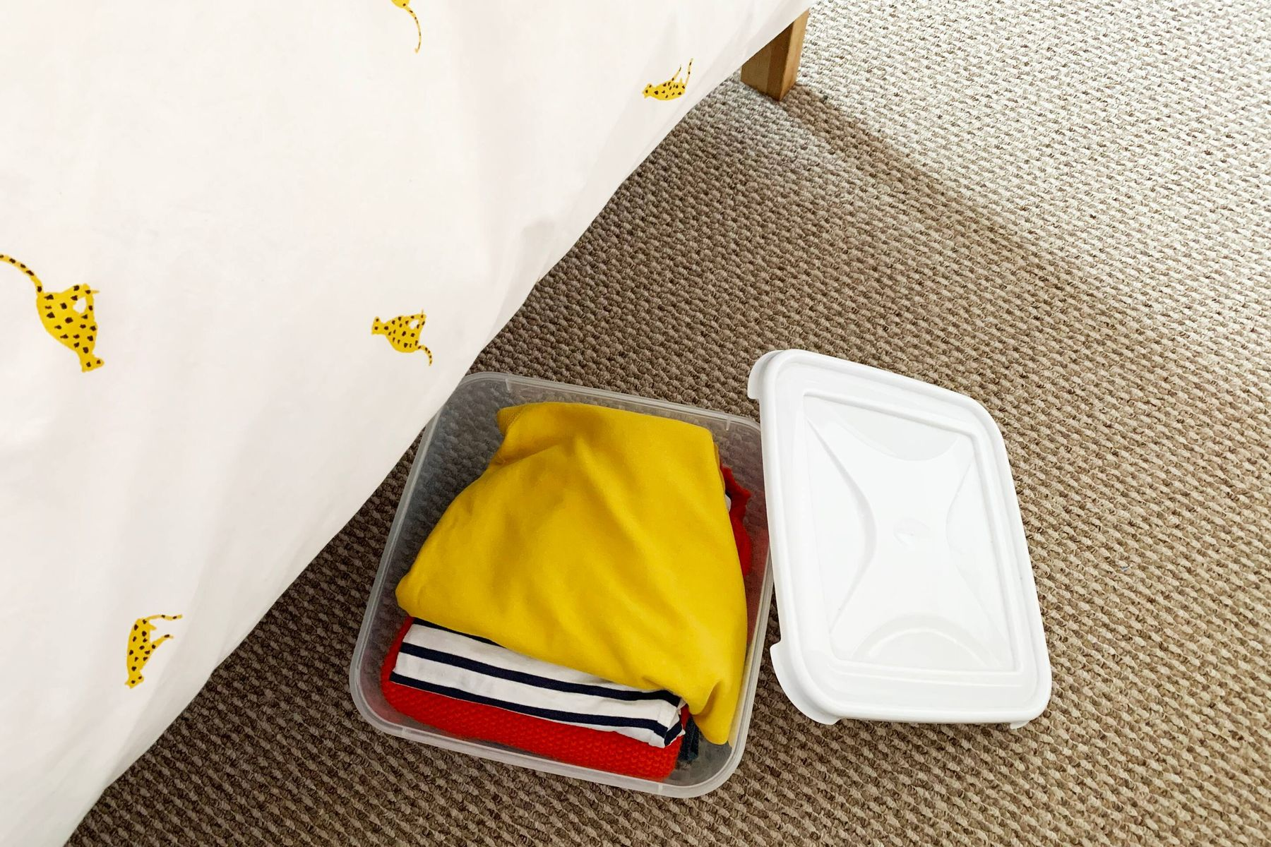 Plastic storage box with clothes in under the bed