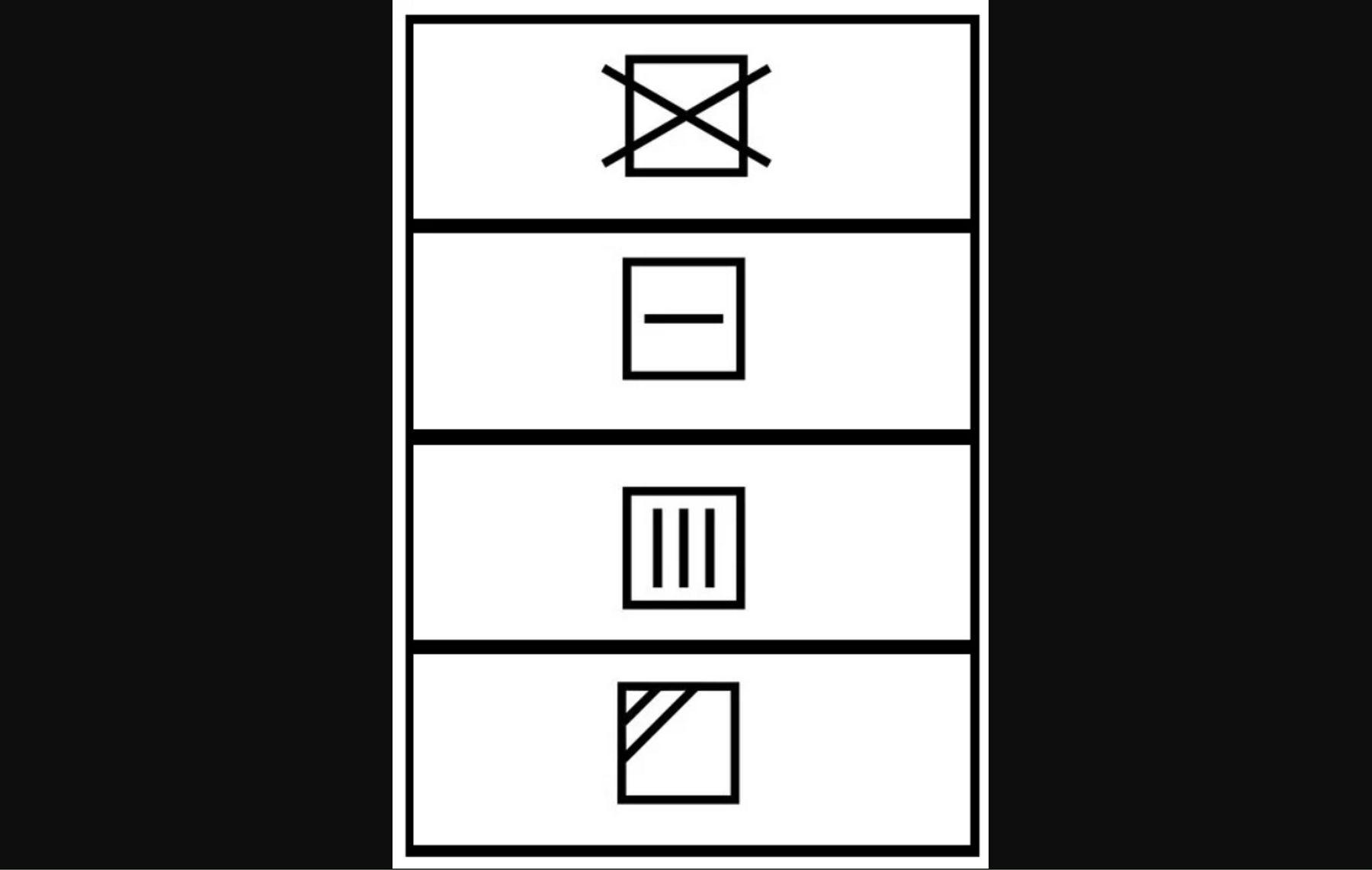 Nhãn mác chứa các ký hiệu trên quần áo về việc phơi
