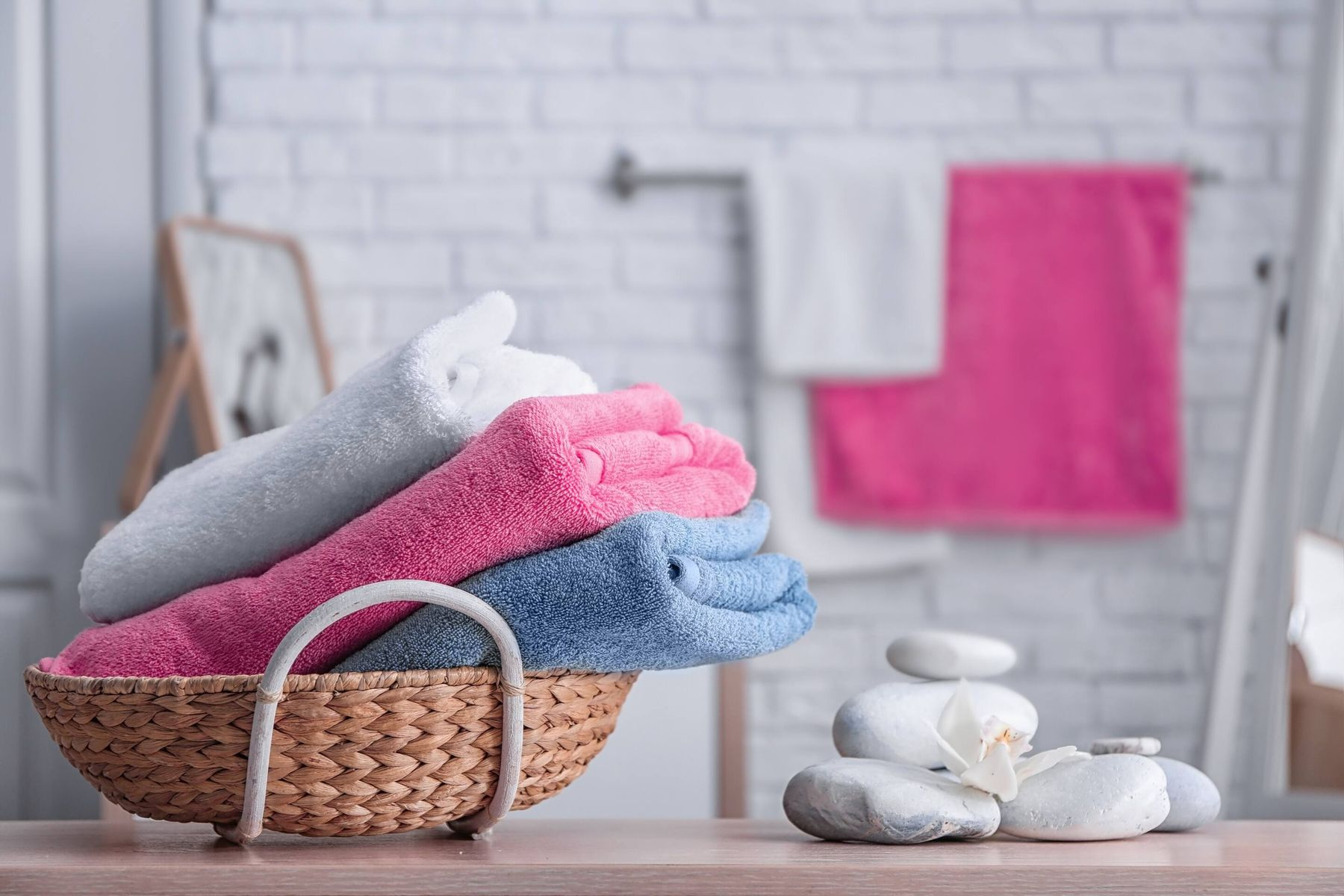 How to fold towels: basket of folded towels