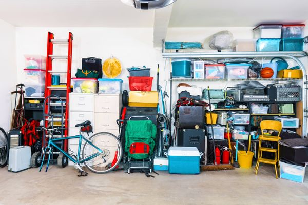 Organised outsid garage with boxes