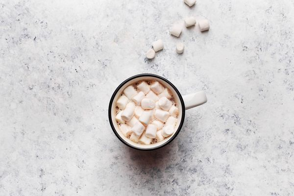cap of hot chocolate with marshmallows
