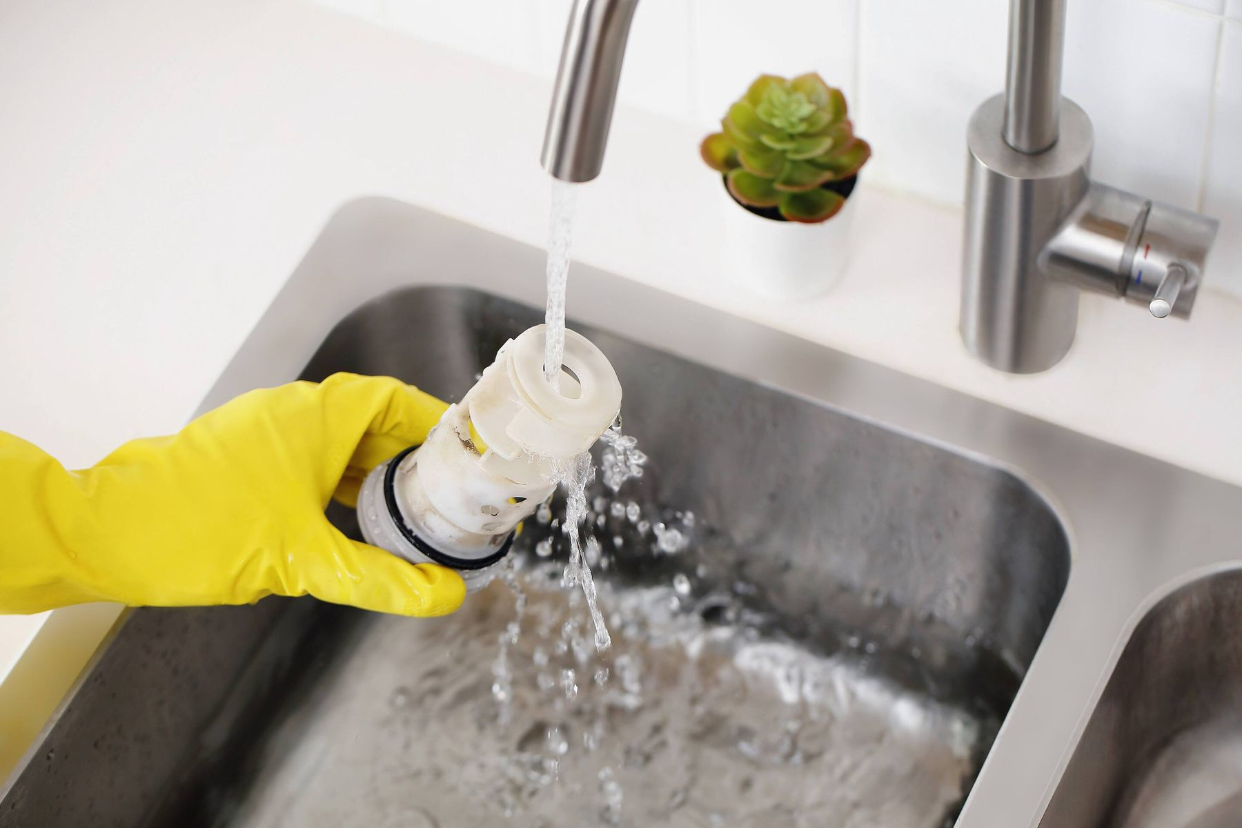 hand cleaning filter with detergent and water