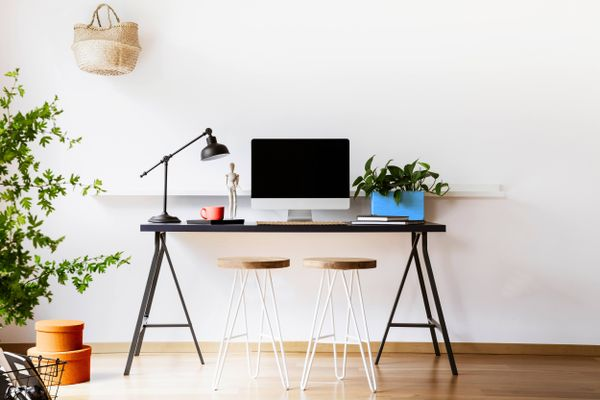 minimalistic desk with a computer and a plant
