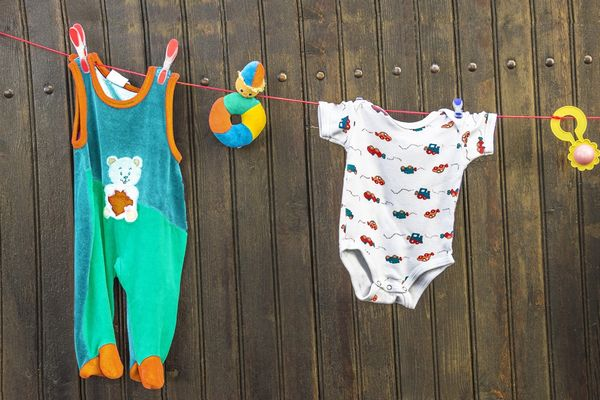 baby clothing on washing line after being washed