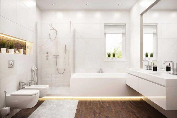 nhà vệ sinh hiện đại sang trọng kiểu Nhật với tông trắng chủ đạo