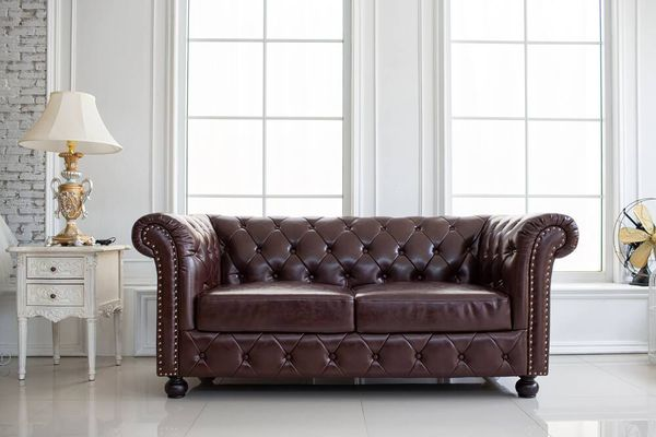 room with leather sofa