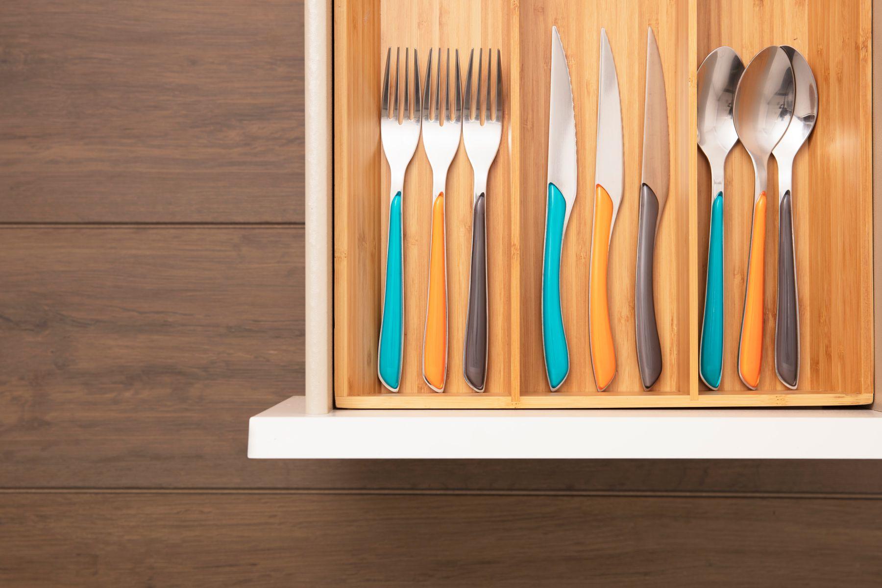 drawer of freshly cleaned cutlery