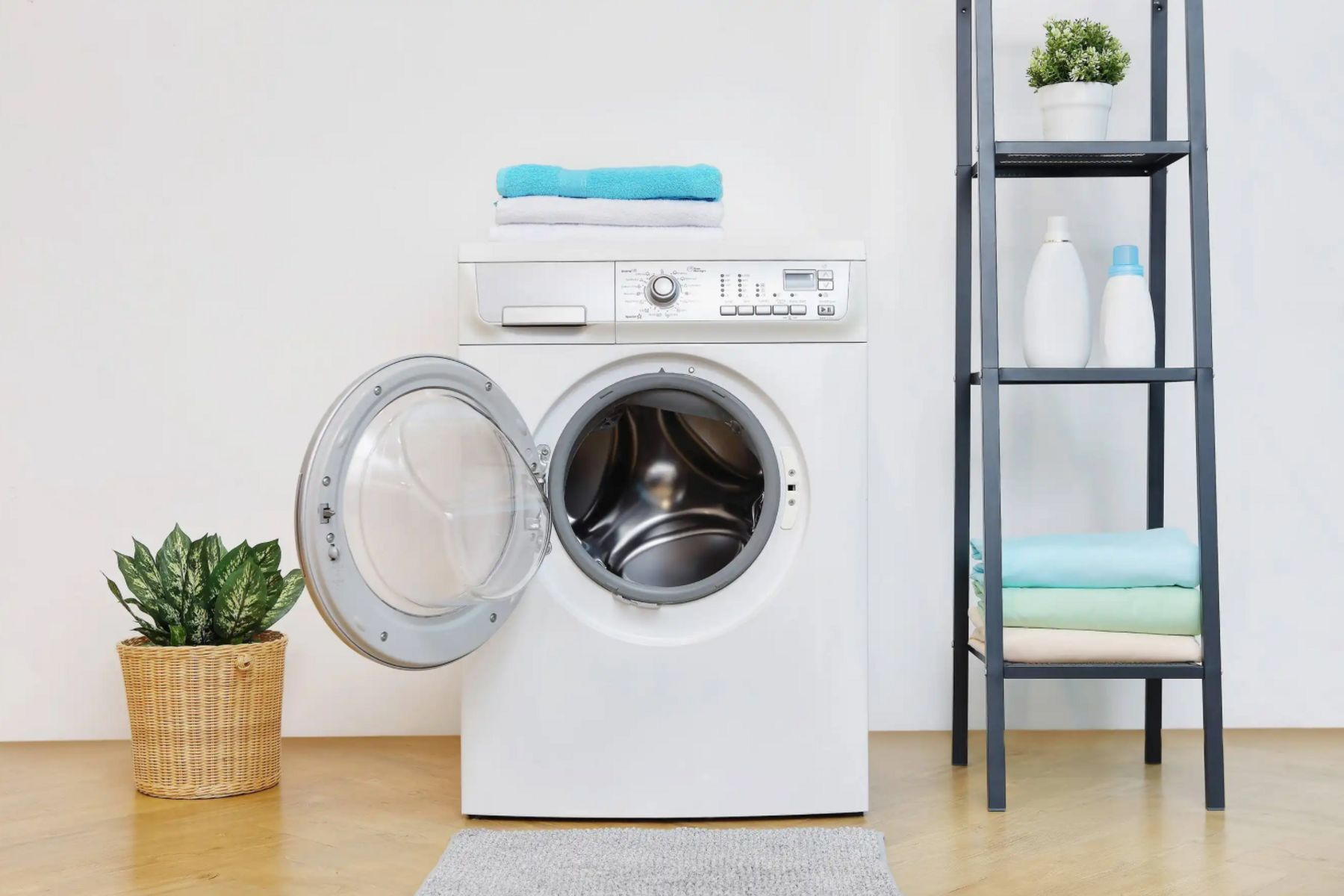 Open washing machine next to plant and storage