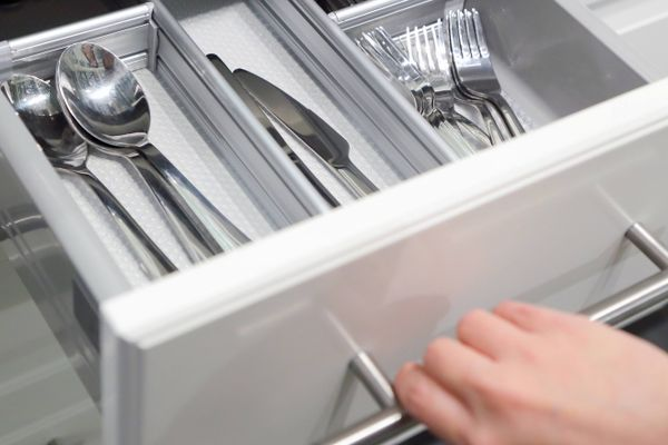 cutlery in a drawer
