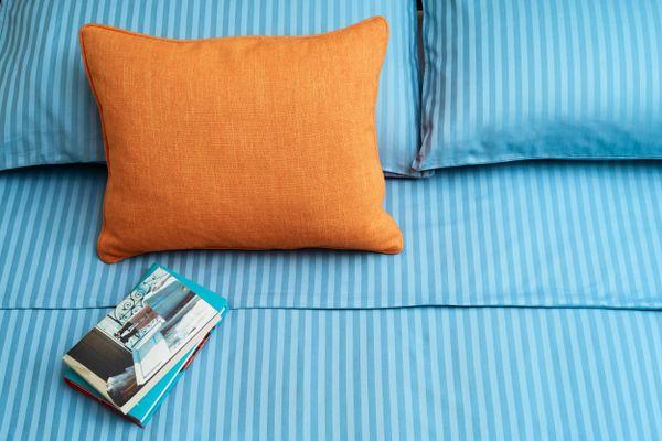 Close em cama com dois travesseiros azuis, uma almofada laranja, lençol azul e dois livros sobre a cama