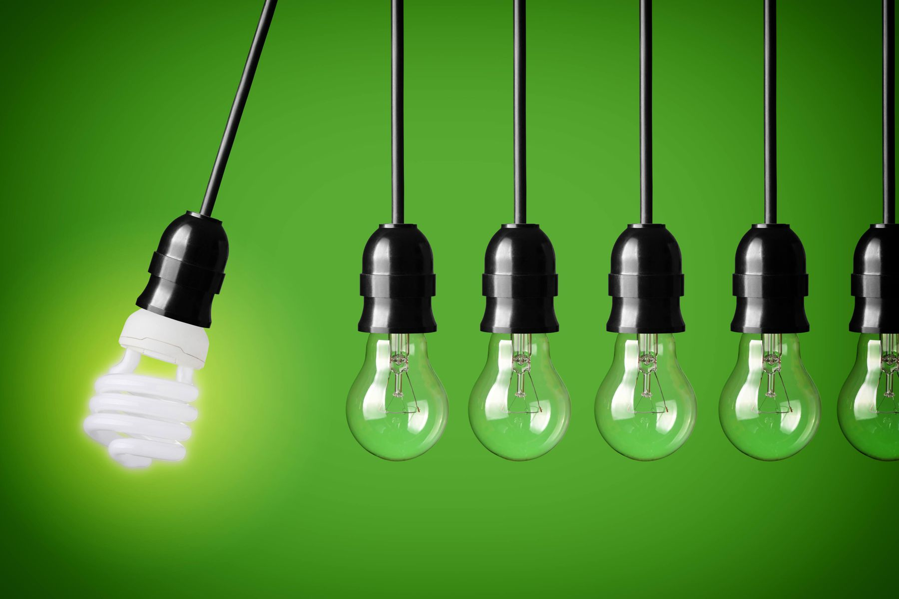 light bulb types on a green background