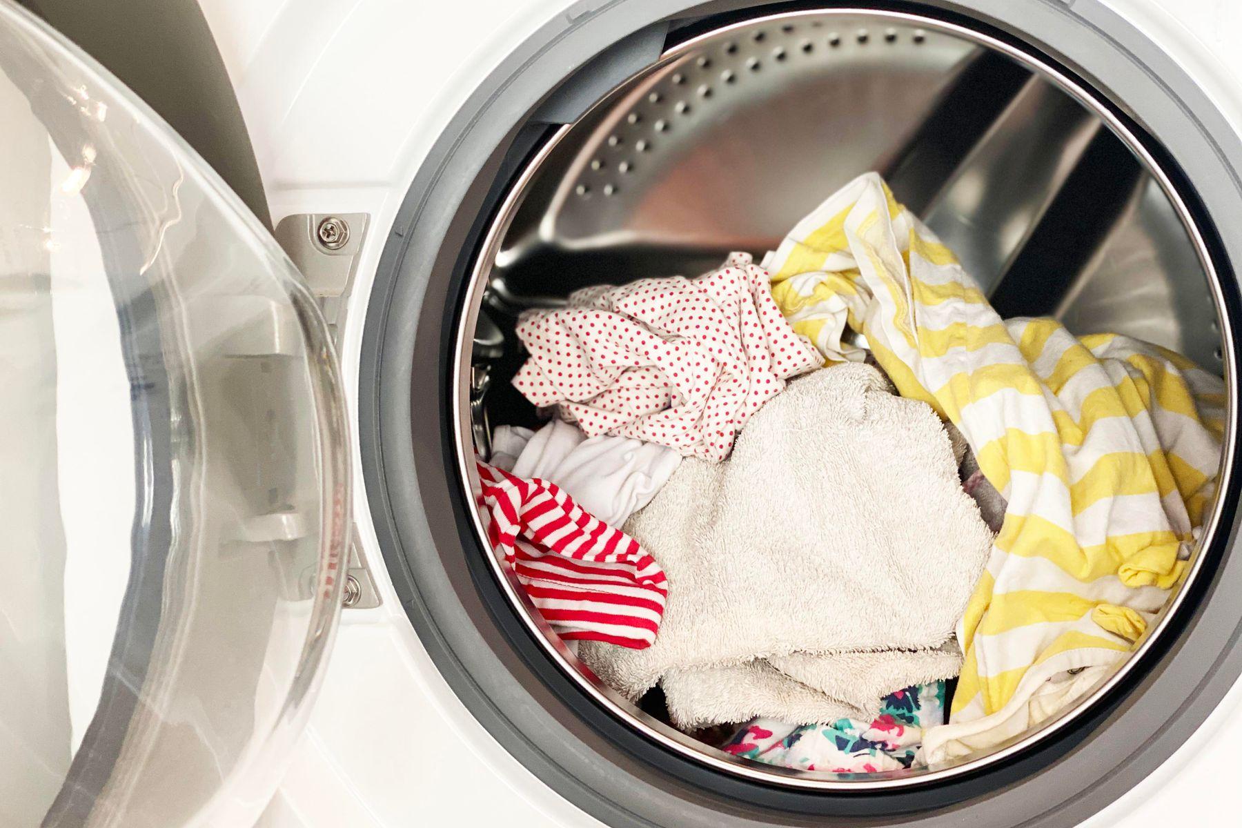 Colourful clothing inside a washing machine