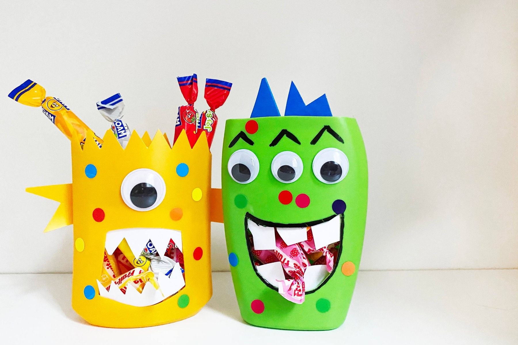 Plastic bottles turned into monster sweetie jars