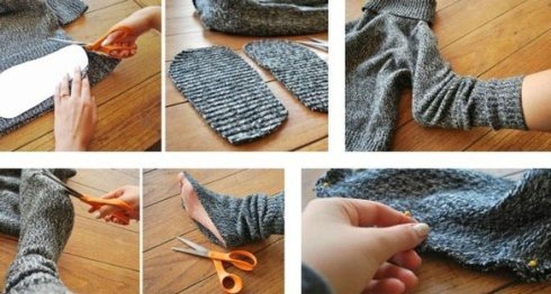 Tái chế áo len cũ thành vớ chân, vớ tay