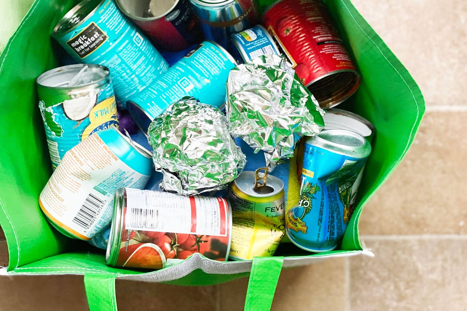 Empty tins, cans and tinfoil