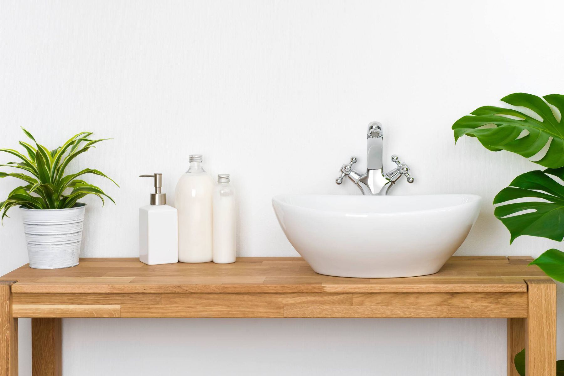 sink with plants