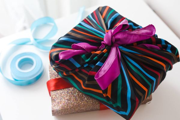 upcycled presents wrapped in fabric