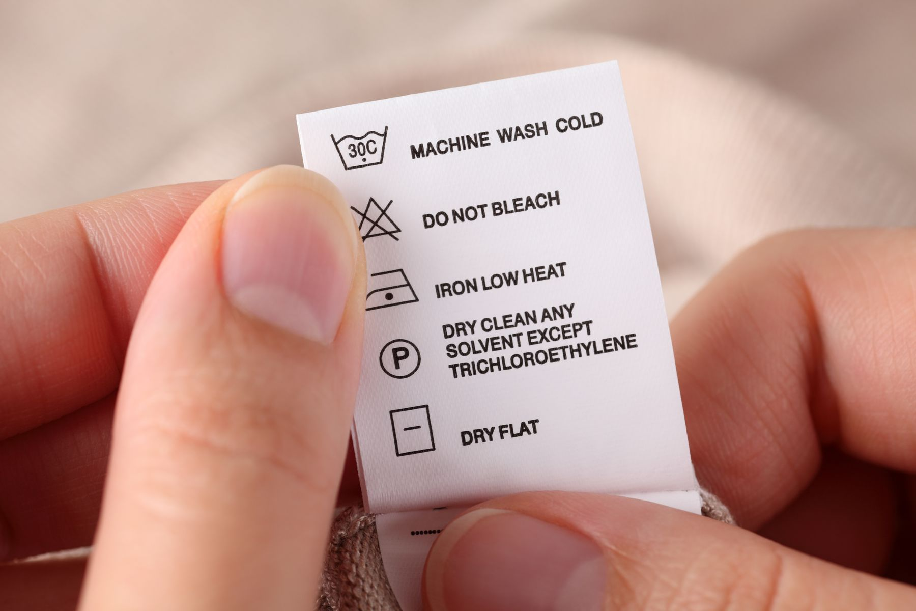 Step 1: Washing care label
