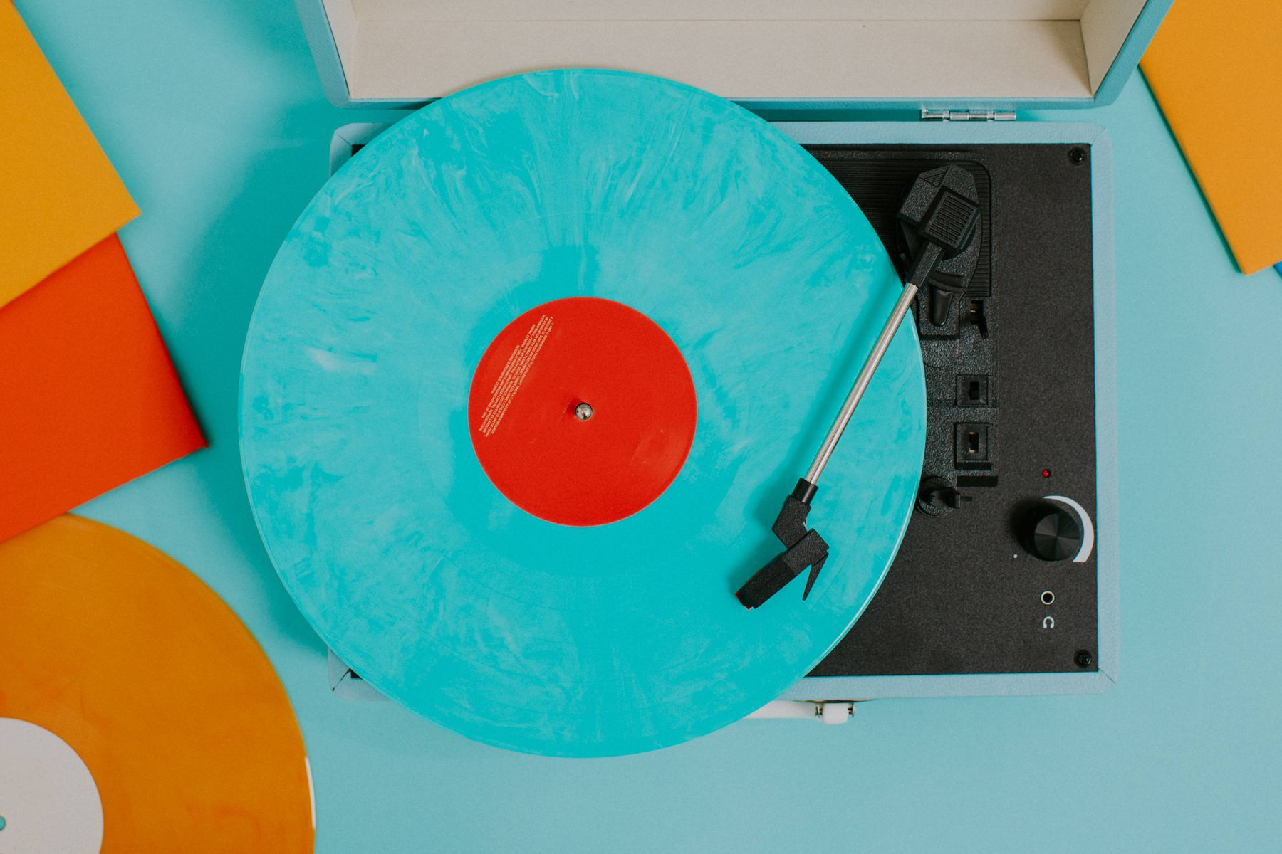 a clean vinyl record on a turntable