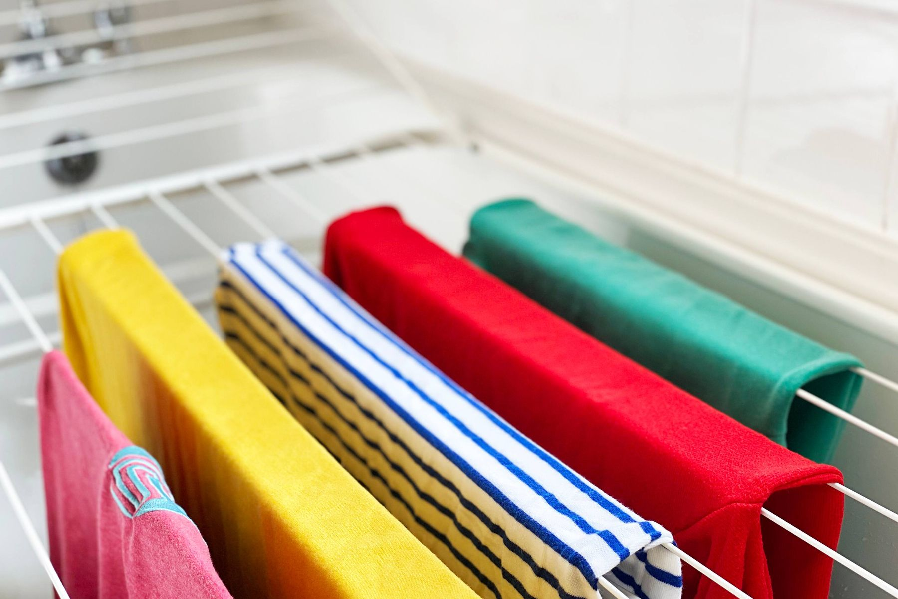 clothes to dry on a drying rack