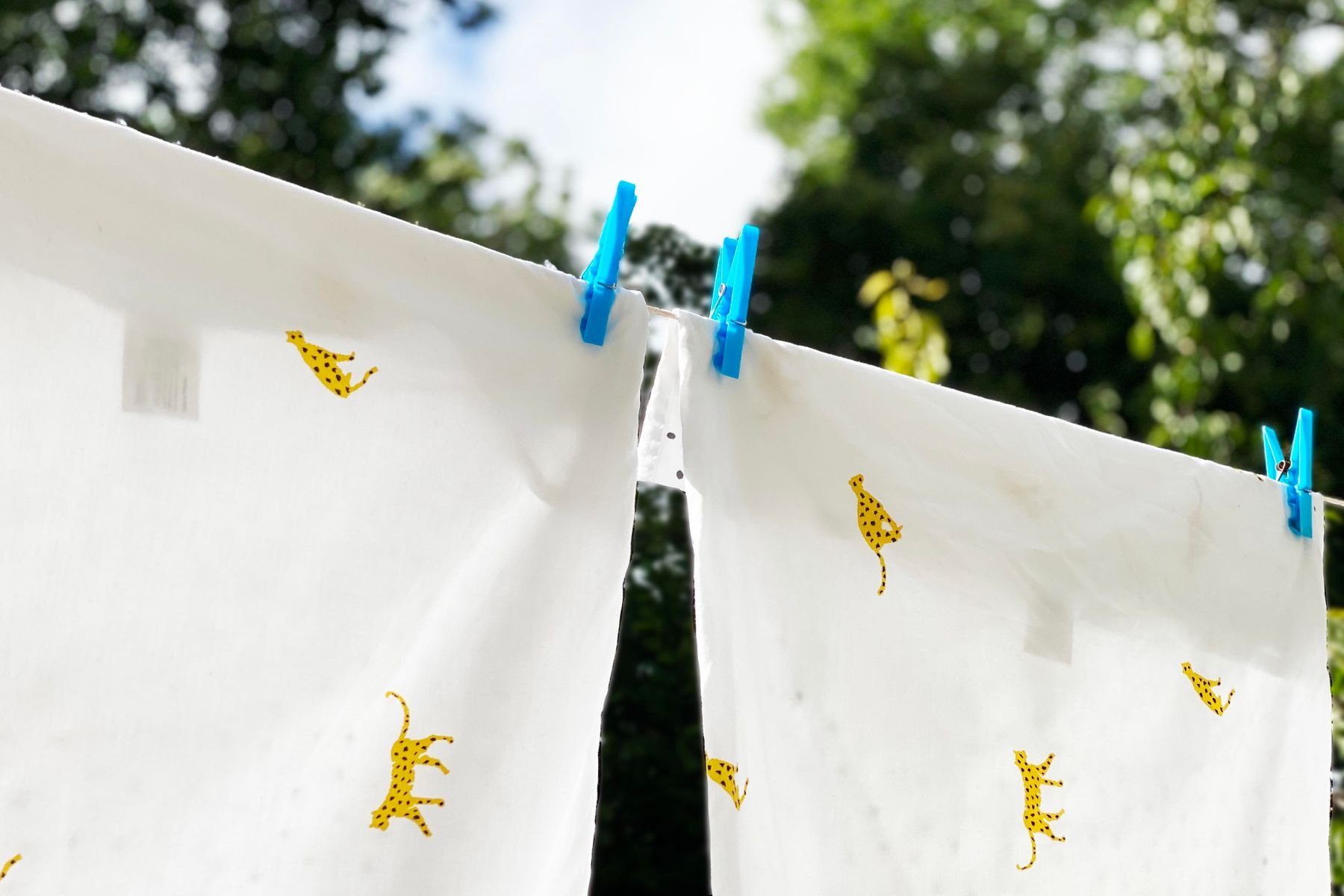 Pillow cases drying on an outdoor washing line