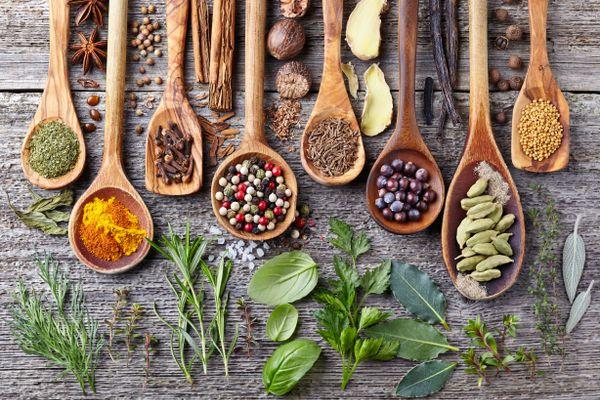cuillères en bois aux herbes et aux épices