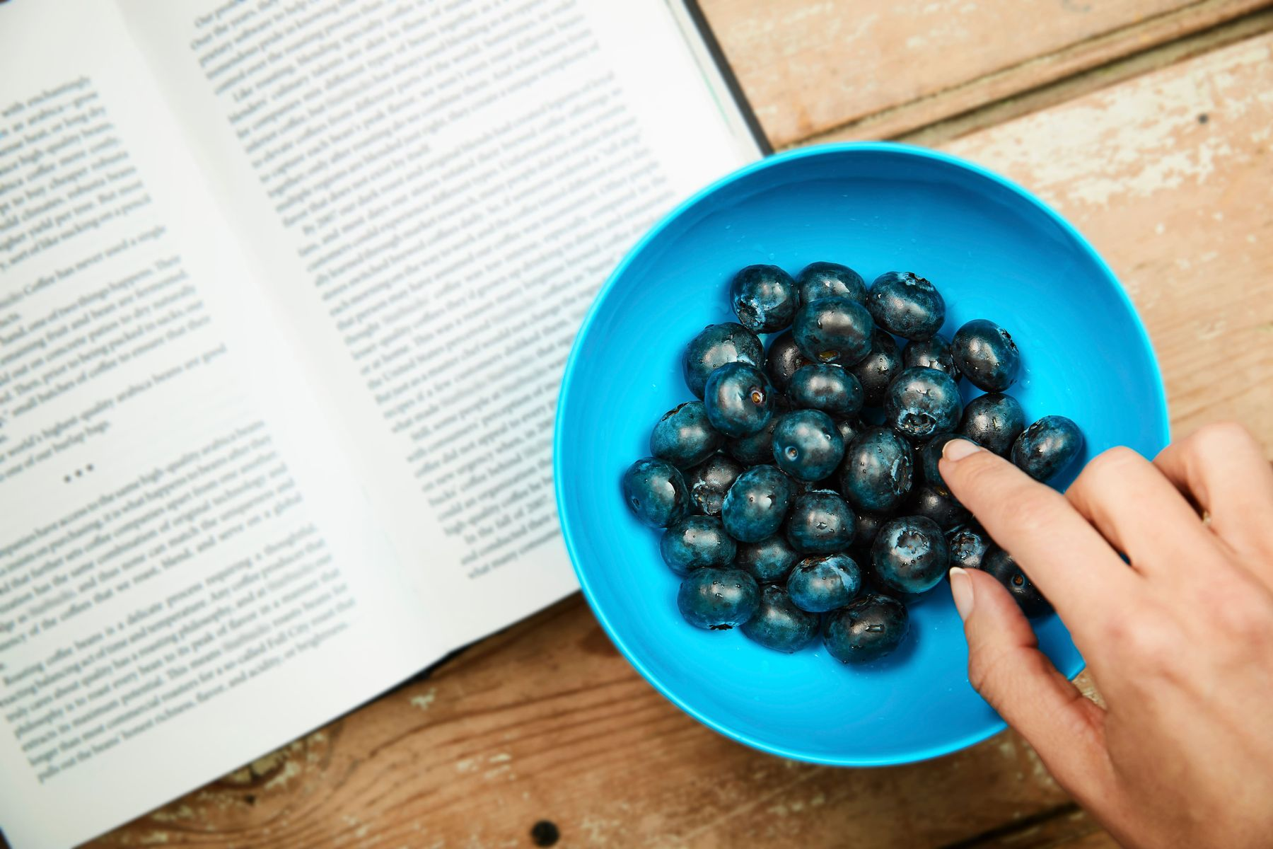 bowl of blueberries above open book on wooden surface