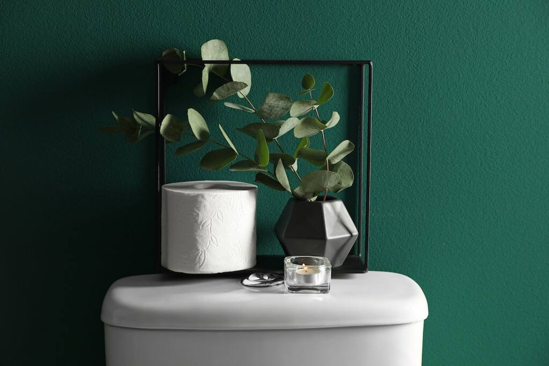 Clean toilet tank with ornaments