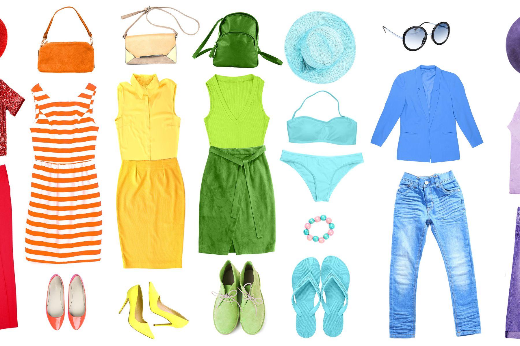 Kleidung in jeder Farbe des Regenbogens