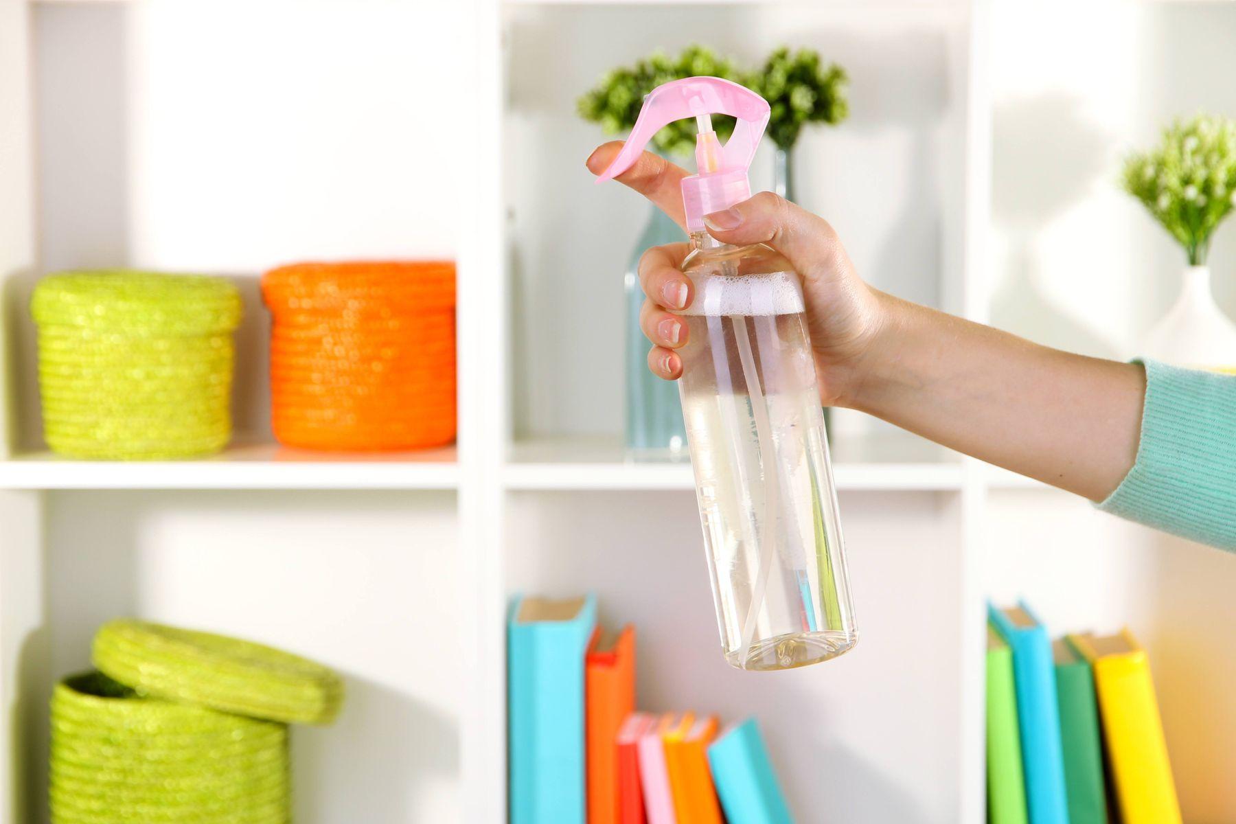 bottle of air freshener in home