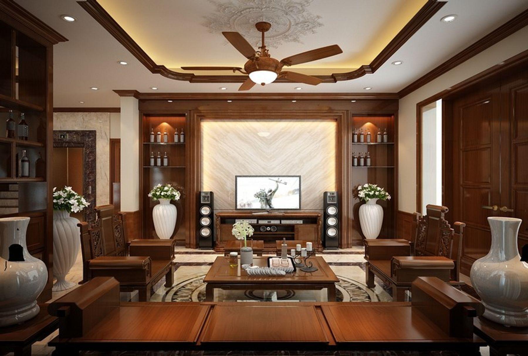 Trang trí phòng khách đơn giản với chất liệu gỗ