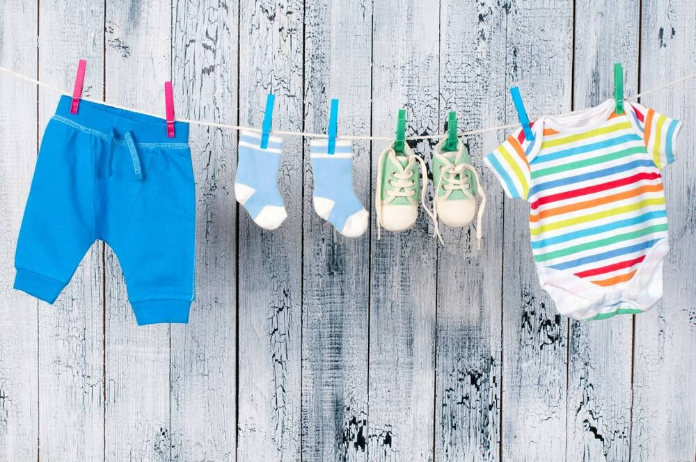 baby clothes on washing line