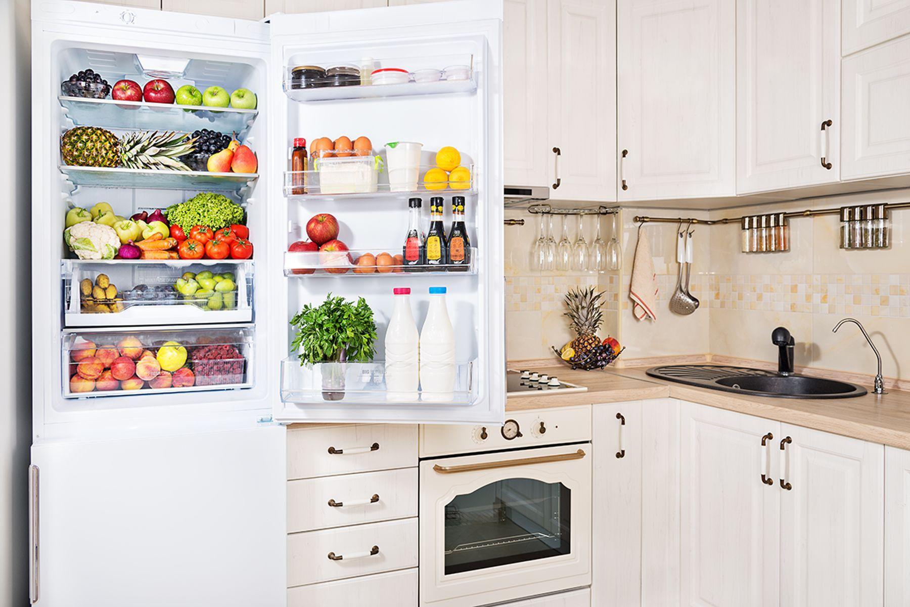 Open fridge in a kitchen