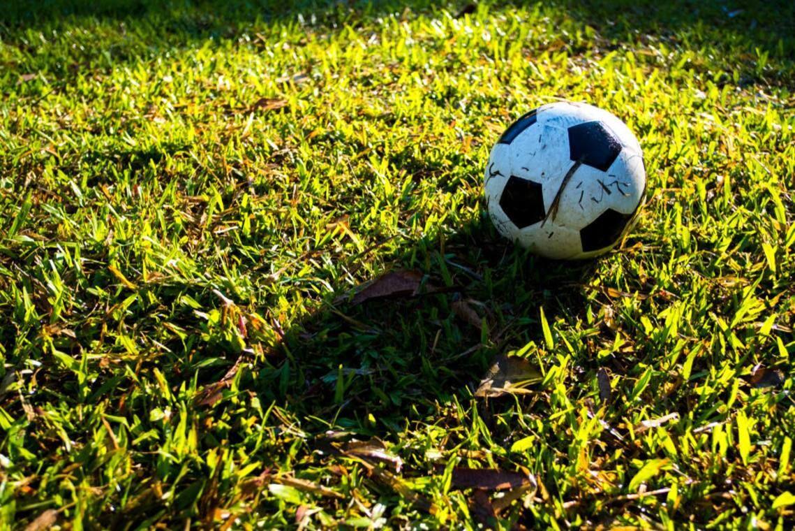 pasto con pelota de futbol