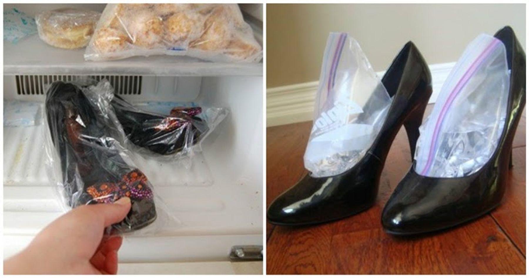 Cho giày vào ngăn đông tủ lạnh để khủ mùi hôi