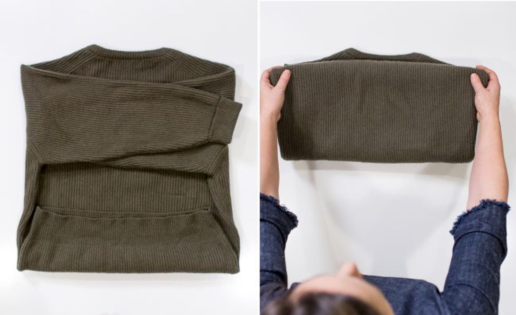 Cách xếp quần áo len