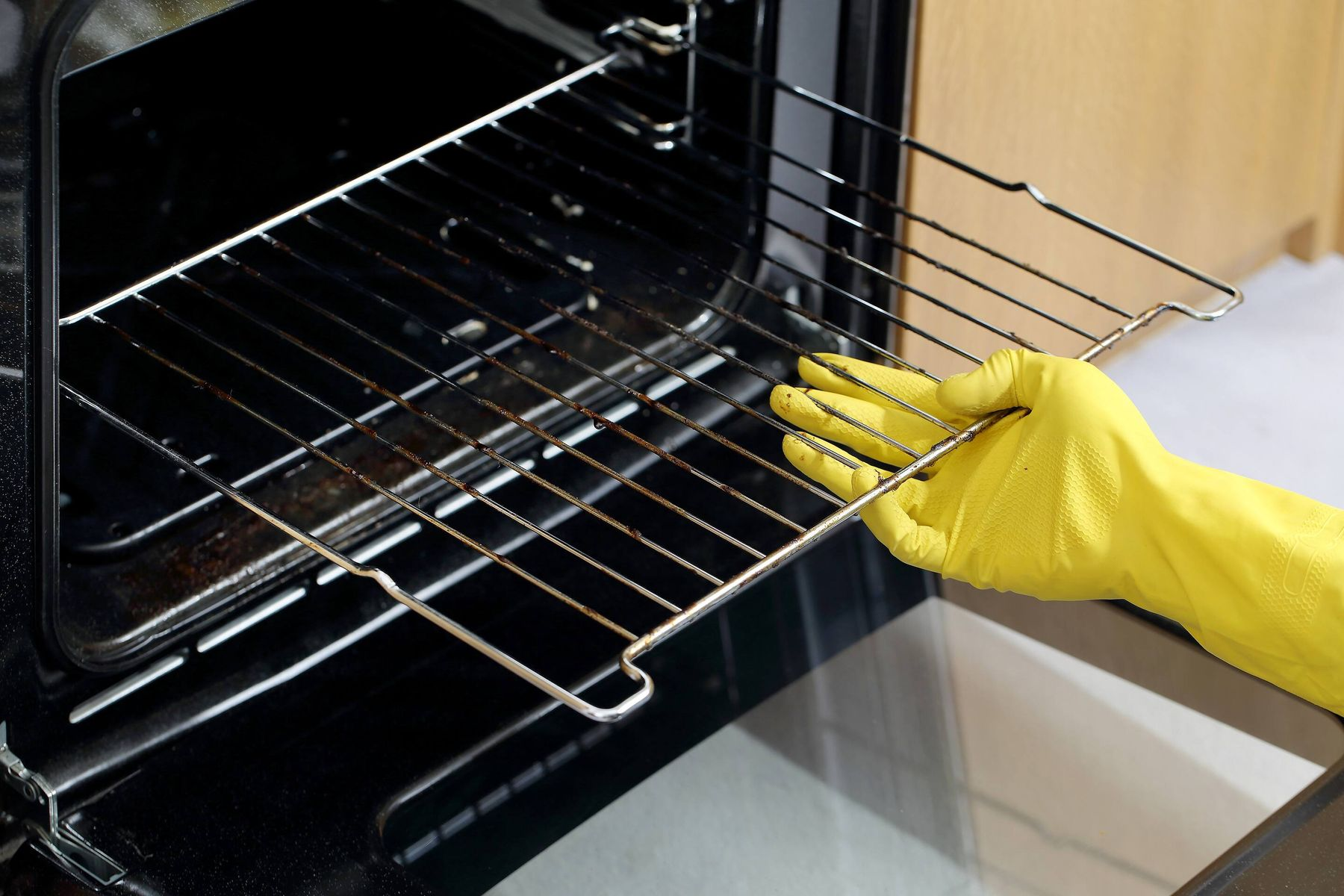 removing the shelves from oven