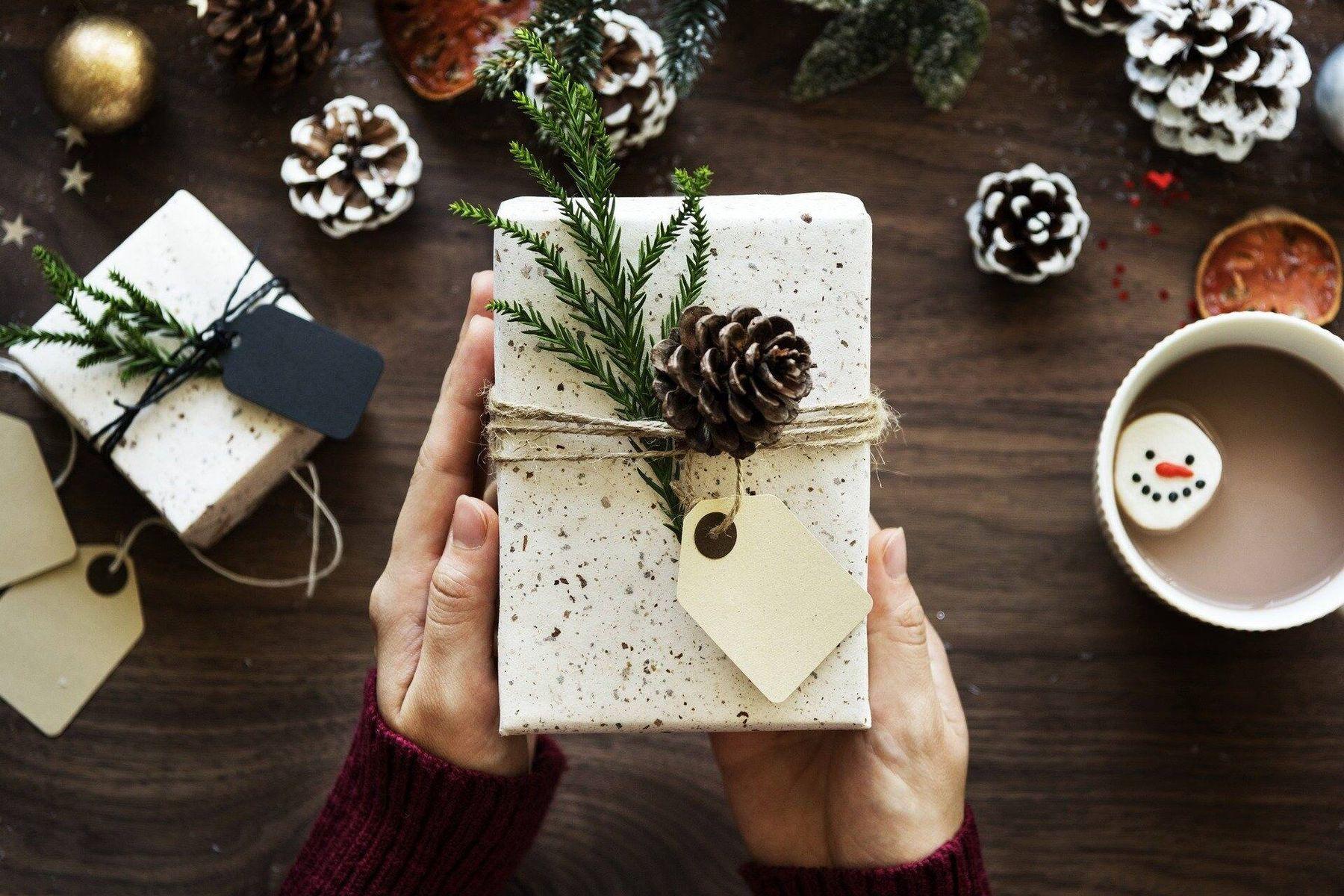 Presente de Natal embalado perto de pinhas e galhos de pinheiro