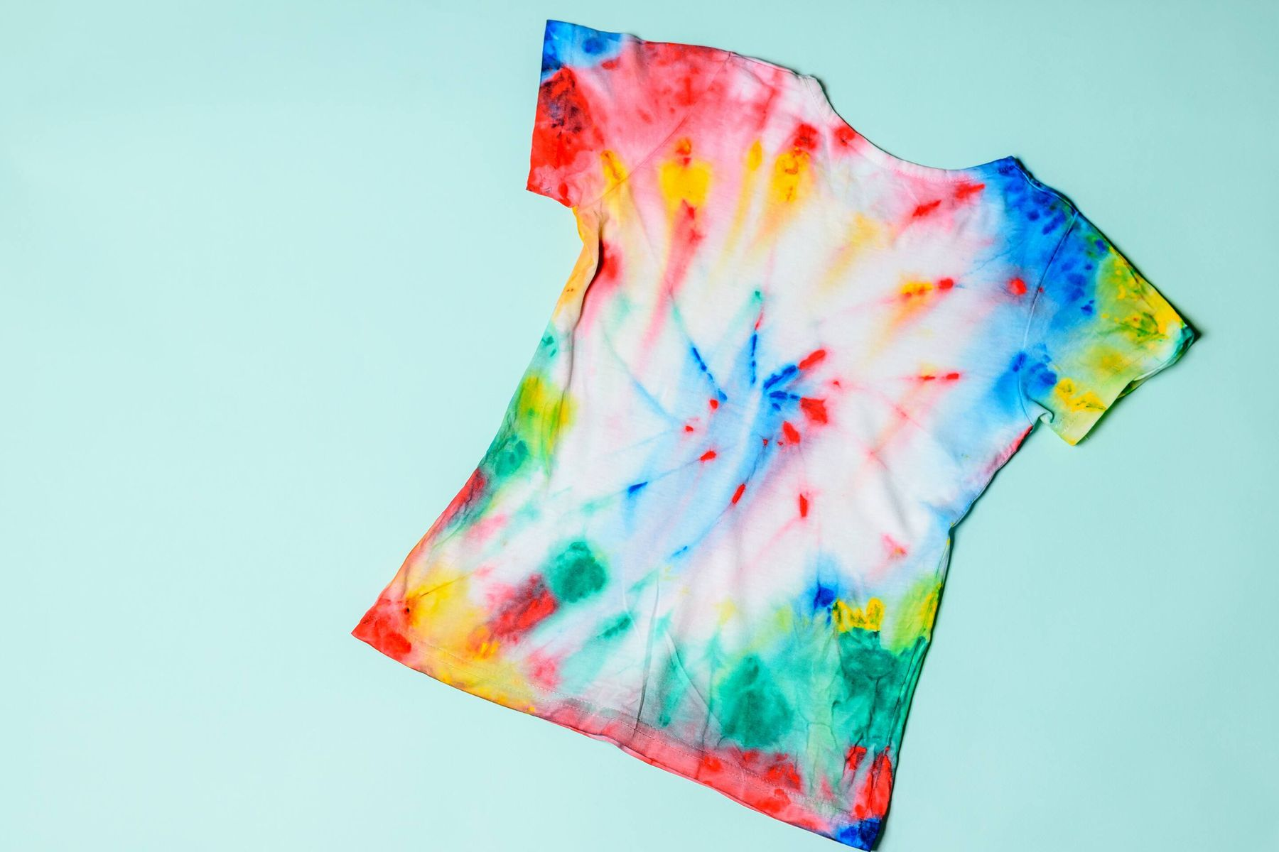 tie dye shirt on blue background