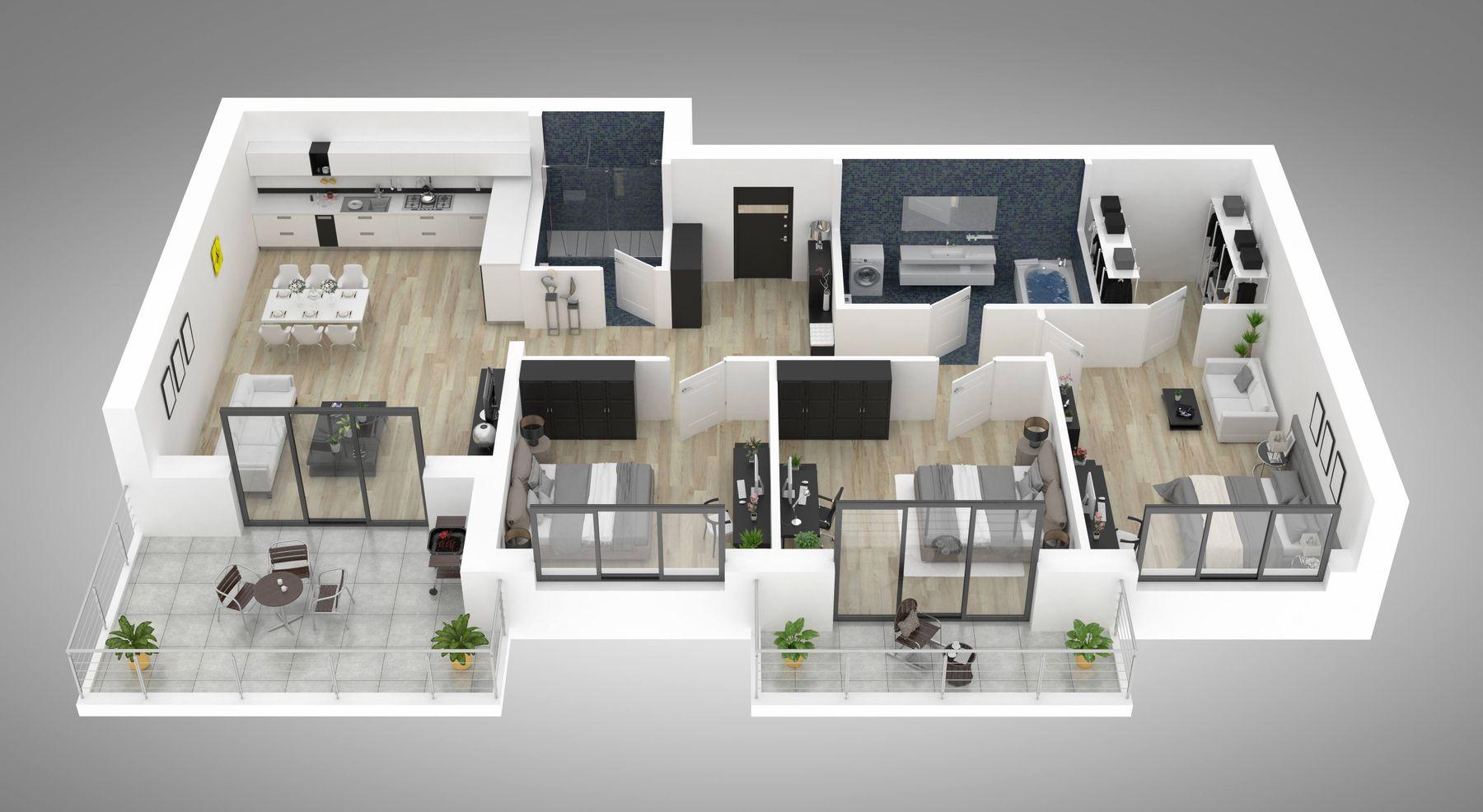Bản thiết kế trang trí phòng khách nhà ống thông với phòng bếp